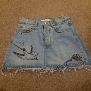 Zara Trafaluc Denim Mini Skirt